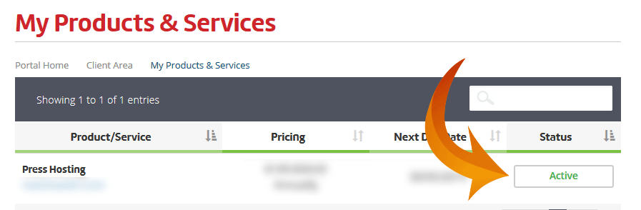 Screenshot of the Presshost portal Services Active button.